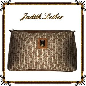 Judith Leiber Signature Canvas Leather Pouch Bag